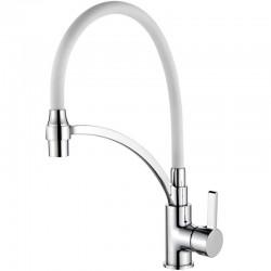4499-3 Смеситель Кухня LEDEME с силиконовым изливом, (белый/хром)