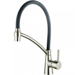 4399А-9 Смеситель Кухня LEDEME с силиконовым изливом, (серый/сатин)